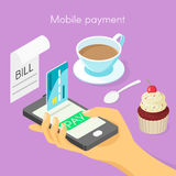 Vector isometric 3d concept for mobile online payment.