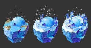 Vector isometric 3d fantasy ice island game design. Vector isometric 3d fantastic ice islands for game design set. Cartoon illustration with frozen ground Stock Image