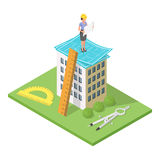 Vector isometric 3d illustration of city building with blueprints. Architectural background with engineer woman. Looking at house plan Royalty Free Stock Images