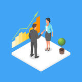 Vector isometric 3d illustration of two business people making dea Royalty Free Stock Photography