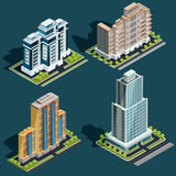 Vector isometric 3D illustrations of modern urban buildings. Vector isometric 3D illustrations icons of buildings skyscrapers, offices, residential buildings Stock Photos