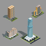 Vector isometric 3D illustrations of modern urban buildings. Vector isometric 3D illustrations icons of buildings skyscrapers, tower, offices, residential Royalty Free Stock Photography