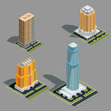 Vector isometric 3D illustrations of modern urban buildings. Vector isometric 3D illustrations icons of buildings skyscrapers, tower, offices, residential Royalty Free Stock Images