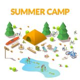 Vector isometric 3d low poly elements in the camping site. Flat illustration on white background Royalty Free Stock Images