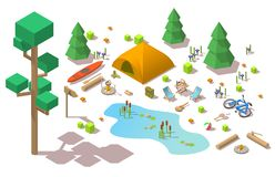 Vector isometric 3d low poly elements in the camping site. Flat illustration on white background Stock Photography