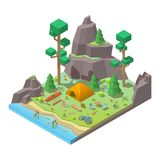 Vector isometric 3d low poly elements in the camping site. Flat illustration on white background Stock Photo
