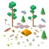 Vector isometric 3d low poly elements in the camping site. Flat illustration on white background Royalty Free Stock Photography