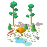 Vector isometric 3d low poly elements in the camping site. Flat illustration on white background Stock Photos