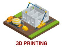 Vector isometric 3d printing house concept. Concrete mixer truck in the side of industrial 3D printer which printing. House. Flat illustration Stock Images