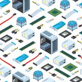 Vector isometric electronic devices background or pattern illustration royalty free illustration