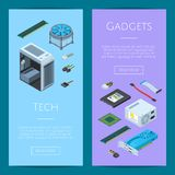 Vector isometric electronic devices vertical web banners illustration vector illustration