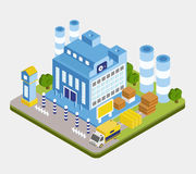 Vector Isometric Factory Building Royalty Free Stock Photos