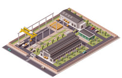 Vector isometric factory buildings icon. Isometric icon set representing factory with backyard Royalty Free Stock Photos