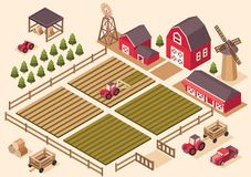 Vector isometric farm elements. Vector isometric farm elements house, tractor, pickup, harvesting machine, windmill, hay, field, harvest, cart, spruce Royalty Free Stock Photography