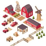 Vector isometric farm elements. Vector isometric farm elements house, tractor, pickup, harvesting machine, windmill, hay, field, harvest, cart, spruce Stock Photos