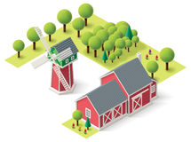 Vector isometric farm set Stock Photo