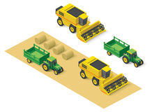 Vector isometric farm vehicles set Royalty Free Stock Photography