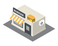 Vector isometric fast food burger building icon Stock Photos