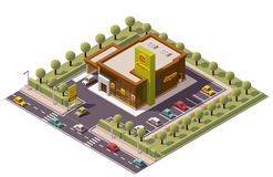 Vector isometric fast food restaurant Royalty Free Stock Images