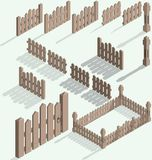 Vector isometric fence. Set, construction kit with shadow Royalty Free Stock Photography