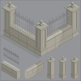 Vector isometric fence set, construction kit Stock Photo
