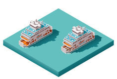 Vector isometric ferry. Isometric icons representing loaded and empty ferries Stock Photo
