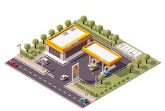 Vector isometric filling station Royalty Free Stock Image
