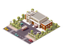 Vector isometric fire station Royalty Free Stock Image