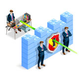 Vector Isometric Firewall Anti Virus Defense. Network security concept with firewall blocks cyber attack flat isometric vector illustration Royalty Free Stock Photos