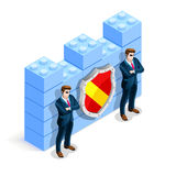 Vector Isometric Firewall Cyber Crime Protection. Network security concept with firewall blocks cyber attack flat isometric vector illustration Royalty Free Stock Images