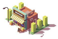 Vector isometric fish and seafood shop. Or fish market building neon signs and awnings Royalty Free Stock Photo