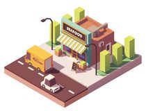Vector isometric fish and seafood shop. Or fish market building neon signs and awnings Royalty Free Stock Photos