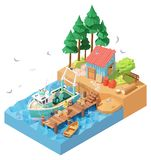 Vector Isometric Fisherman Unloading Catch From Trawler On Pier Royalty Free Stock Photos