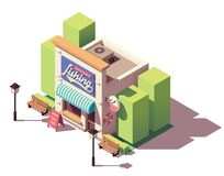 Vector isometric fishing gear and tackle shop. Vector isometric fishing gear, equipment, bait and tackle shop building with signboard Royalty Free Stock Photography