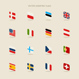 Vector isometric flags with rounded corners in simple style Stock Images