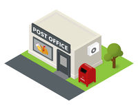 Vector isometric flat post office and mail box Royalty Free Stock Images
