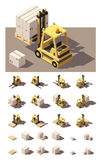 Vector isometric forklift with crates and pallets icon set Stock Photography