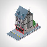 Vector isometric French cakes and cookies shop Royalty Free Stock Photography