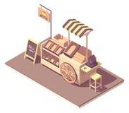 Vector isometric fruits and vegetables kiosk cart. Vector isometric wooden farmer kiosk or cart stand for fruits and vegetables. Retro design with wooden wheel stock illustration