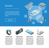 Vector isometric gadgets icons landing page template illustration vector illustration