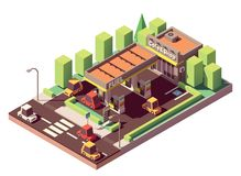 Vector isometric gas station Royalty Free Stock Photography
