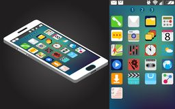 Vector isometric generic smartphone and interface Stock Photos