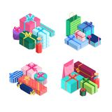 Vector isometric gift boxes piles with ribbons and bows in wrapping paper. Presents packaged in wrapping textured paper royalty free illustration