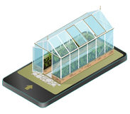 Vector isometric greenhouse with glass walls in mobile phone, isometric perspective. Vector isometric greenhouse with glass walls in mobile phone, isometric stock illustration
