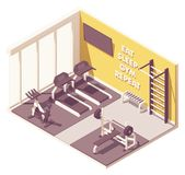 Vector isometric gym interior stock image