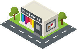 Vector isometric hardware shop, paint store Royalty Free Stock Photos