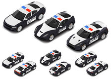 Vector isometric high quality police sport car set. Police icon. Royalty Free Stock Image