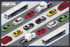 Vector isometric high quality transport set. Royalty Free Stock Image