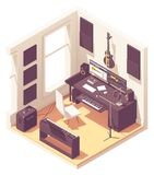 Vector isometric home music recording studio vector illustration