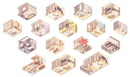 Vector Isometric Home Rooms Stock Image
